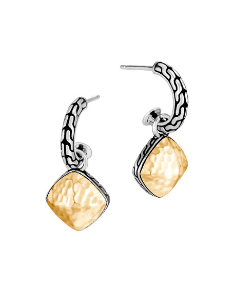 John Hardy Classic Chain Hammered Hoop-Drop Earrings w/ 18k Gold