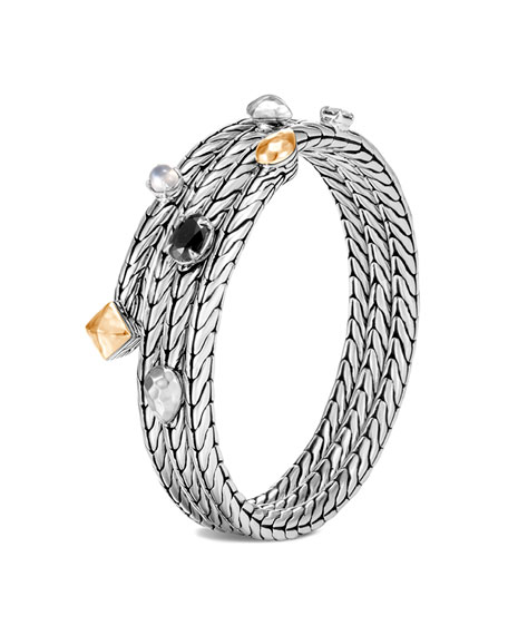 John Hardy Classic Chain Stone Cluster Coil Bracelet w/ 18k Gold, Size S/M