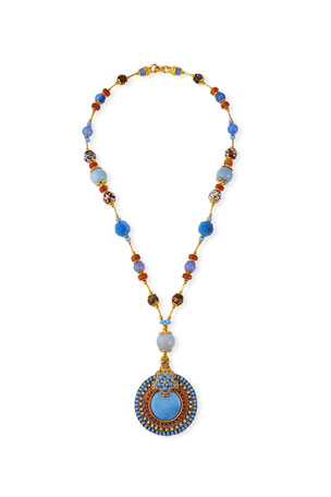 "Jose & Maria Barrera Mixed-Agate Pendant Necklace, 28""L"