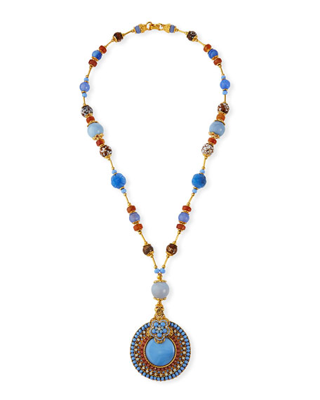 "Jose & Maria Barrera Mixed-Agate Pendant Necklace, 28""L"