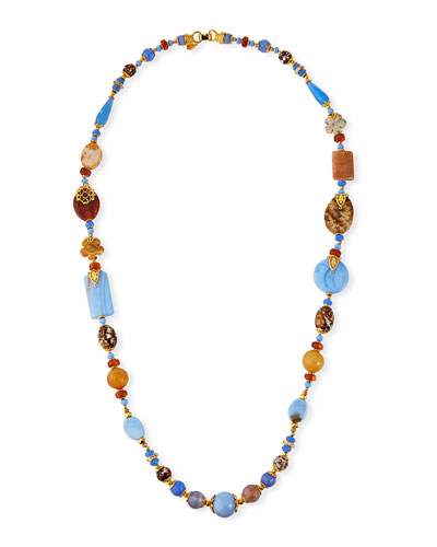 Long Mixed-Agate Necklace  41L