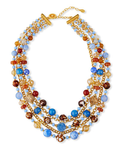 5-Strand Bead & Chain Necklace