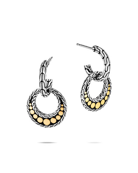 John Hardy Dot Drop Earrings w/ 18k Gold