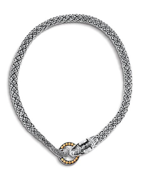 "John Hardy Legends Naga Dragon Silver Necklace w/ 18k Gold, 20"""