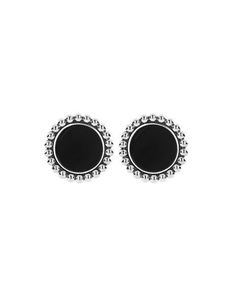 LAGOS Maya Inlay Button Earrings, Onyx