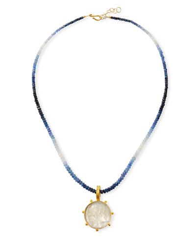 Sapphire Necklace w/ Italian Murano Apollo Pendant