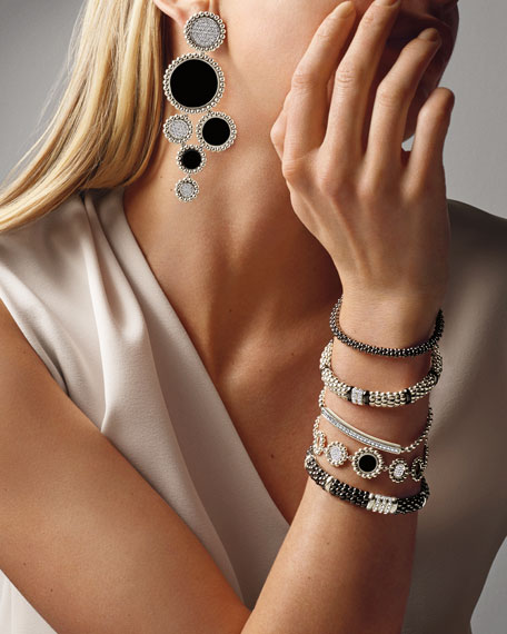 Image 2 of 5: Lagos Maya Black Onyx & Diamond Circle-Link Bracelet