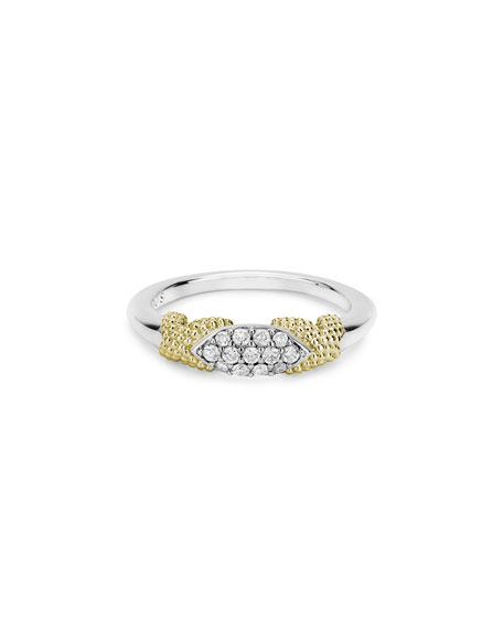 LAGOS Caviar Lux Double-X Ring w/ Diamonds, Size 6-8