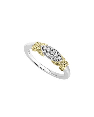 Caviar Lux Double-X Ring w/ Diamonds  Size 6-8