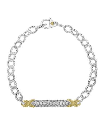 Caviar Lux Diamond Double-X Chain Bracelet w/ 18k Gold