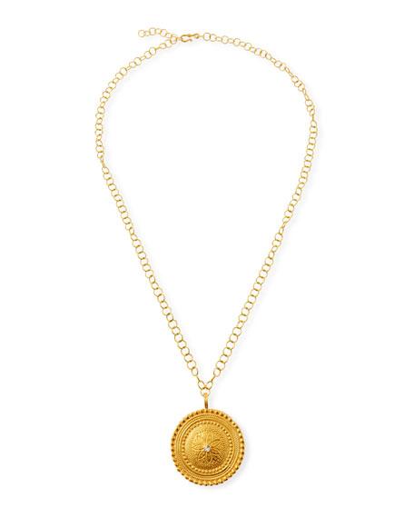 "Dina Mackney Large Topaz Flower Medallion Necklace, 30""L"