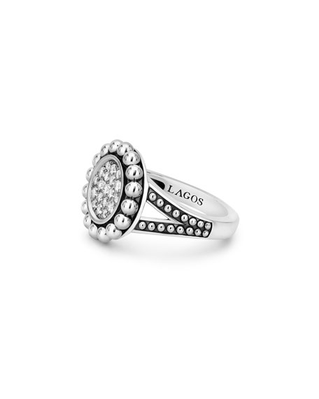 Image 3 of 4: Lagos Caviar Spark 16mm Diamond Ring, Size 7