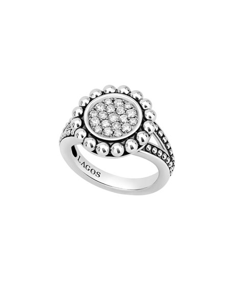 Image 1 of 4: Lagos Caviar Spark 16mm Diamond Ring, Size 7