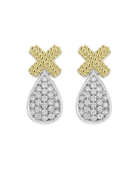 Image 2 of 3: Lagos Caviar Lux X-Post Earrings w/ Diamond Drops