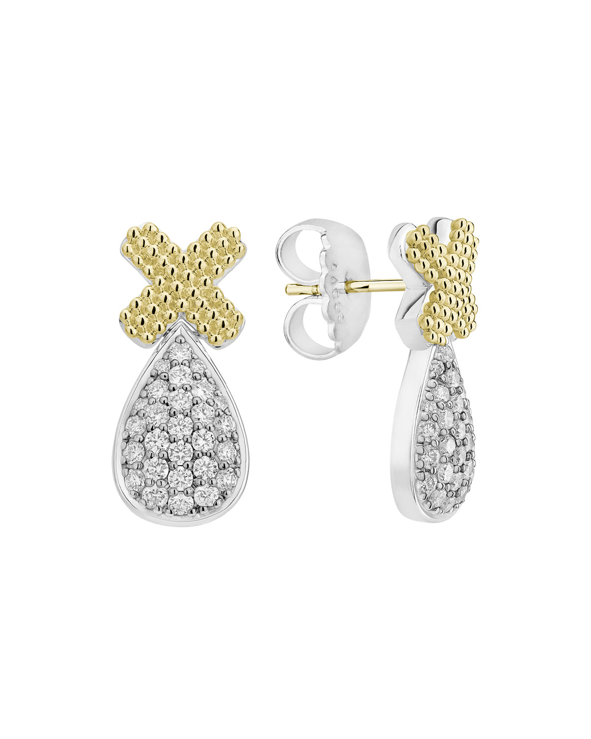 Lagos Caviar Lux X-Post Earrings w/ Diamond Drops