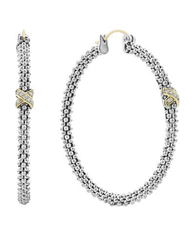 Caviar Lux Diamond-X Skinny Hoop Earrings w/ 18k Gold