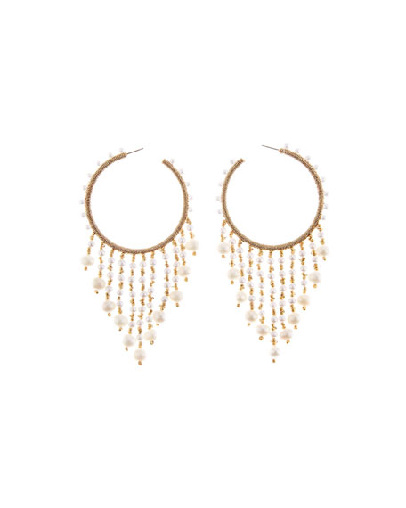 Image 1 of 2: Oscar de la Renta Beaded Hoop Dangle Earrings