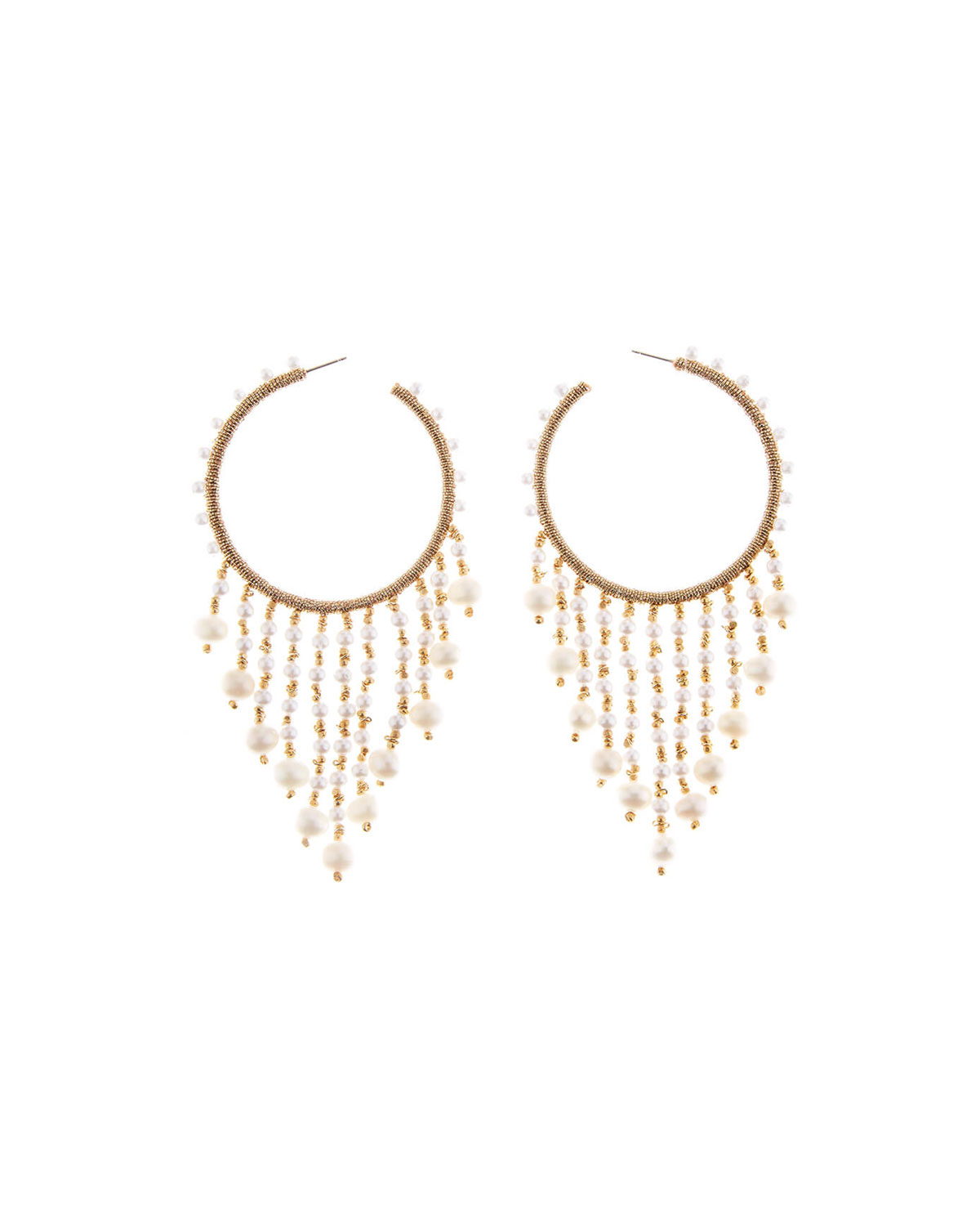Oscar de la Renta Beaded Hoop Dangle Earrings