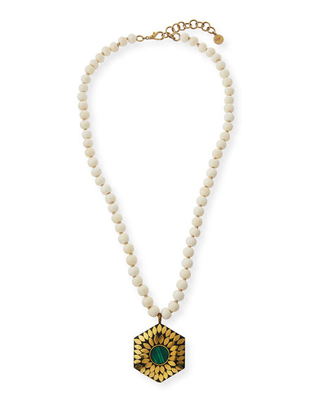NEST Jewelry Bone Beaded Malachite Necklace