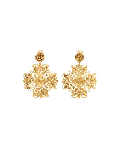 Oscar de la Renta Beaded Clip-On Drop Earrings