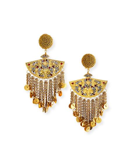 Oscar de la Renta Embellished Beaded Chain Fan Clip Earrings