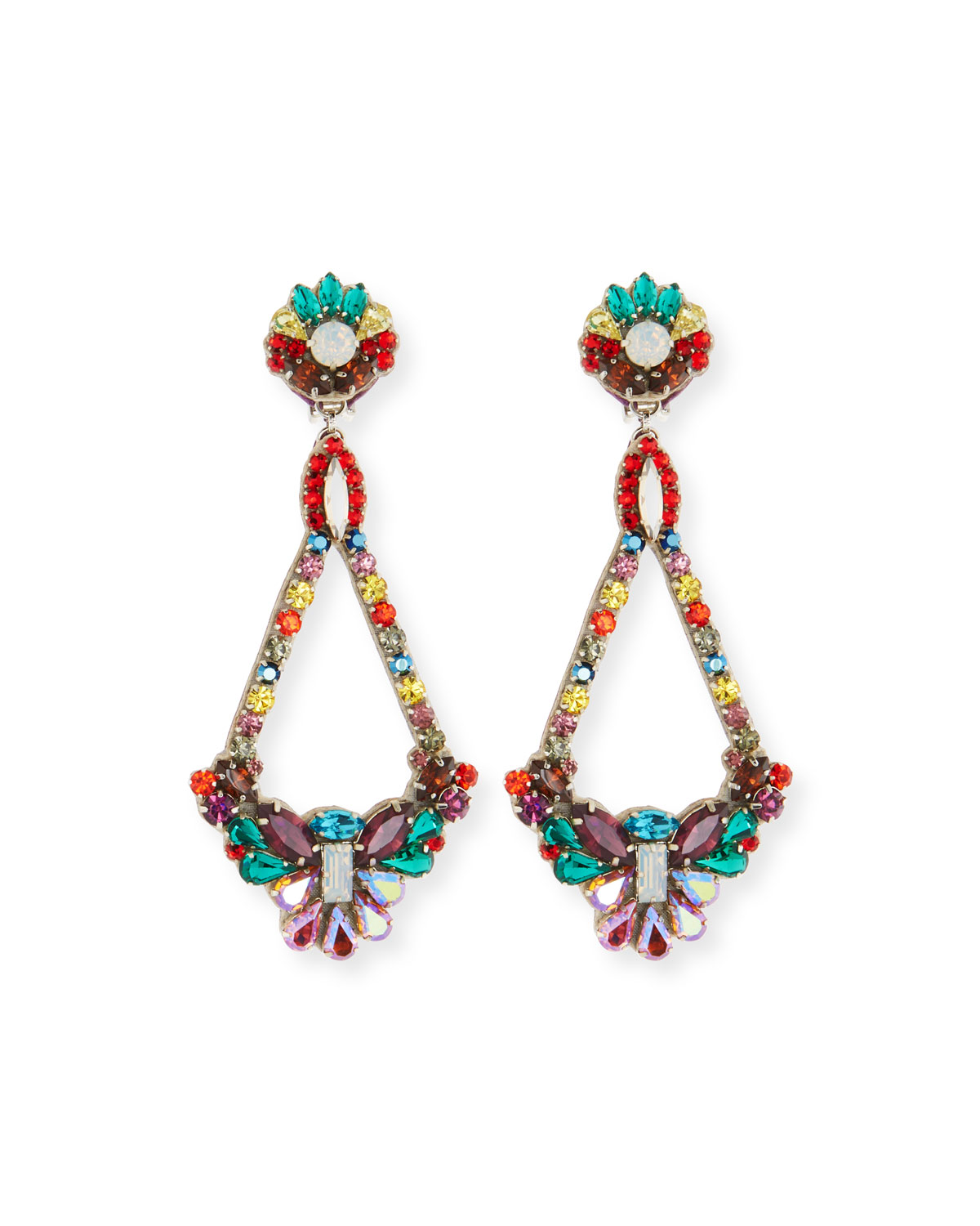 Ranjana Khan Handmade Multicolor Crystal Clip-On Earrings