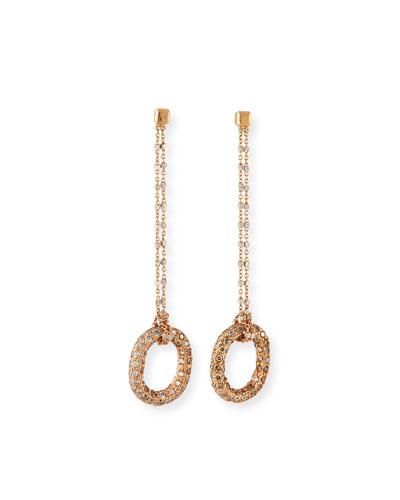 Florentine 18k Pink Gold Diamond Link-Drop Earrings