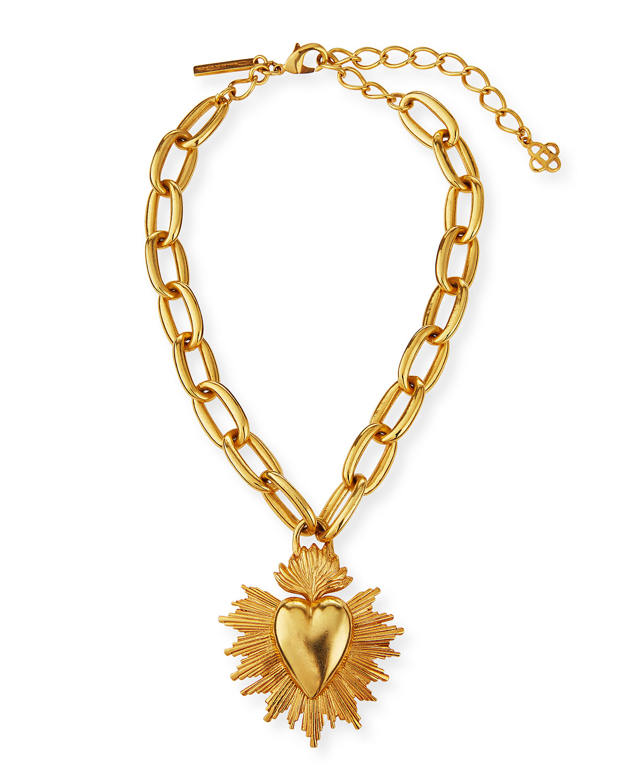 sacred-heart-pendant-necklace by oscar-de-la-renta