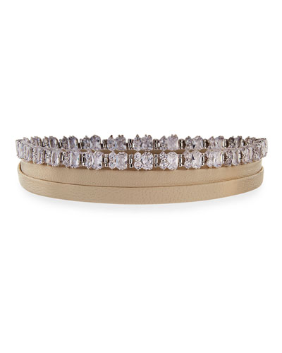 Leather Wrap Choker w/ Baguette Crystals