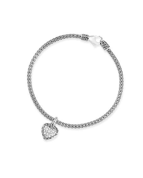 John Hardy Classic Chain Diamond Heart Charm Bracelet, Size S-L