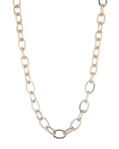 Crystal Encrusted Mesh Chain Link Necklace