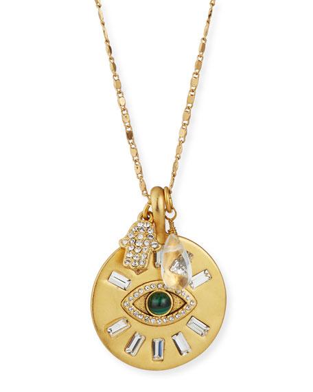 """Sequin Long Evil Eye Talisman Necklace, 32""""L"""