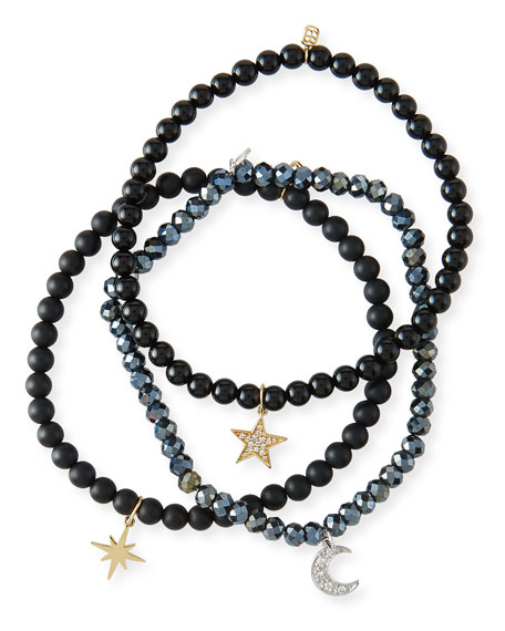 Sydney Evan Dark Night Celestial Trio 14k Diamond Bracelets, Set of 3