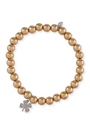 Sydney Evan 14k Gold Bead Bracelet w/ Diamond Clover