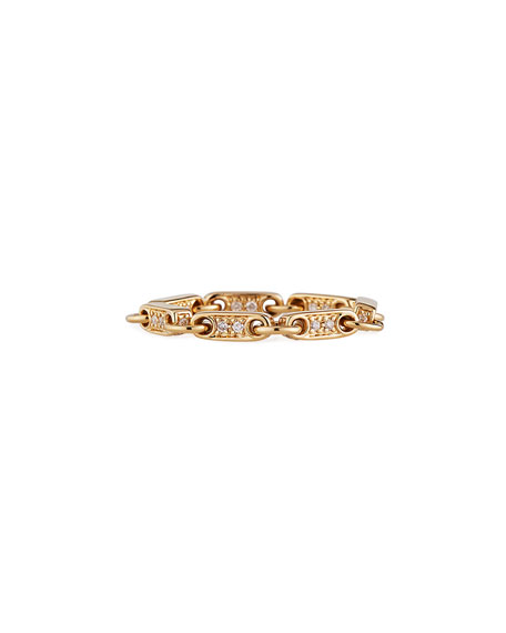 Sydney Evan 14k Gold Elongated Diamond-Link Ring, Size 6.5