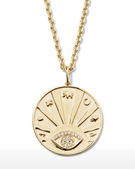 Sydney Evan 14k Evil Eye Medallion Necklace w/ Diamonds