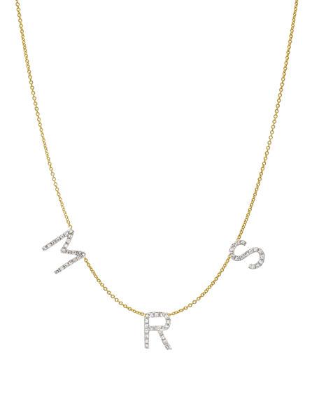 Zoe Lev Jewelry 14k Diamond MRS Spaced Necklace