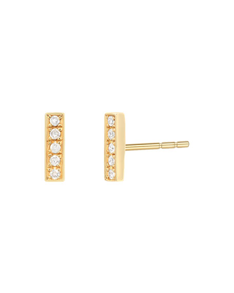 Zoe Lev Jewelry 14k Gold Diamond Bar Stud Earrings