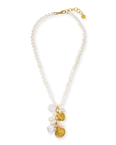 Long Coin Charm Pearl Necklace