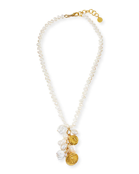NEST Jewelry Long Coin Charm Pearl Necklace