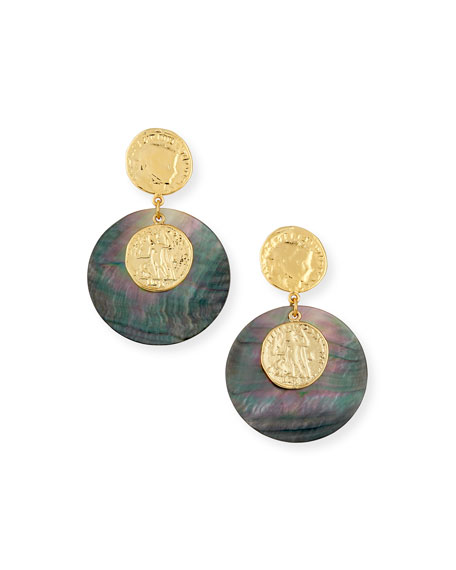 NEST Jewelry Gray Mother-of-Pearl Disc Earrings