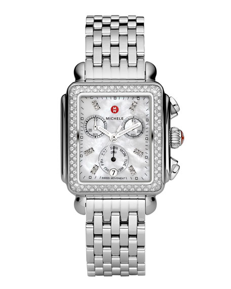 Image 1 of 3: MICHELE Deco 18 Stainless Steel Diamond Bracelet Watch