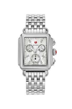 MICHELE Deco 18 Stainless Steel Diamond Detail Watch