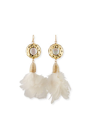 Devon Leigh Pearl & Fabric Feather Drop Earrings