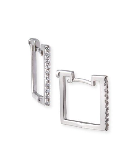 Roberto Coin 18k White Gold Diamond Square Hoop Earrings