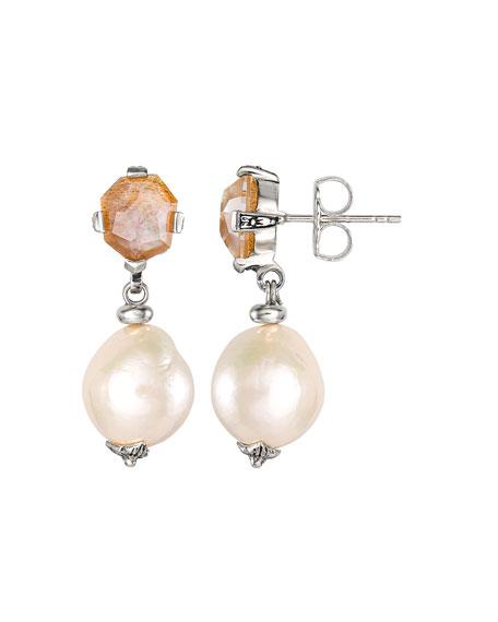 Stephen Dweck Sunstone Baroque Pearl Drop Earrings