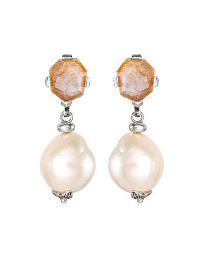 Sunstone Baroque Pearl Drop Earrings