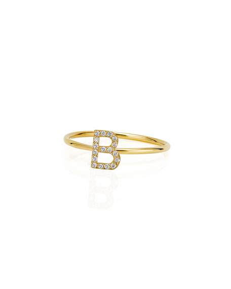 Sarah Chloe Amelia 14k Stackable Diamond Initial Ring, Size 6 & 7