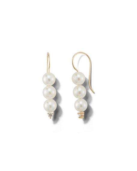 Mizuki 14k Triple-Pearl & Diamond Drop Earrings