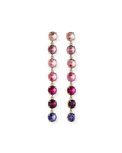 Flo Linear Crystal Earrings  Pink